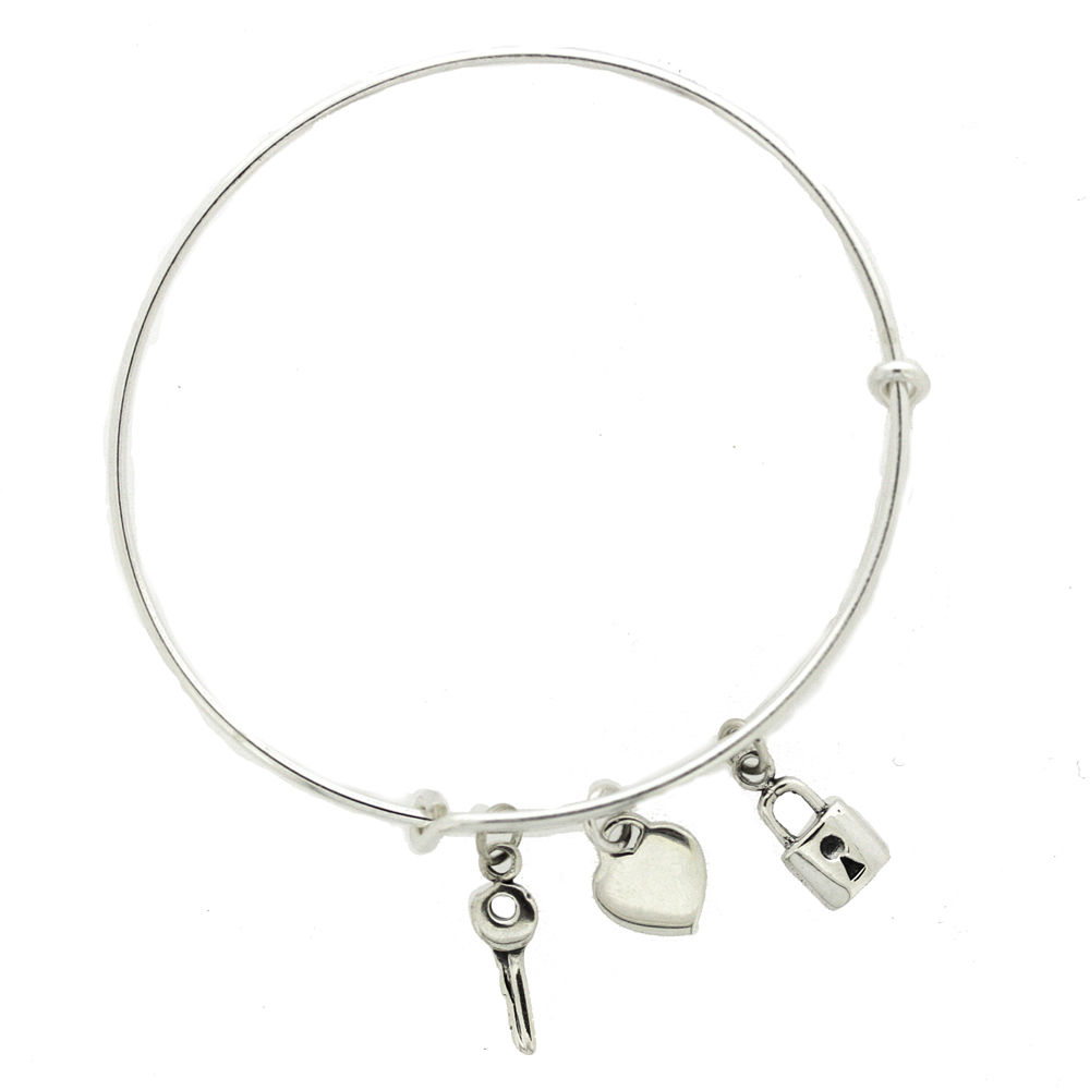 Simply Silver Lock, Key and Heart Bangle