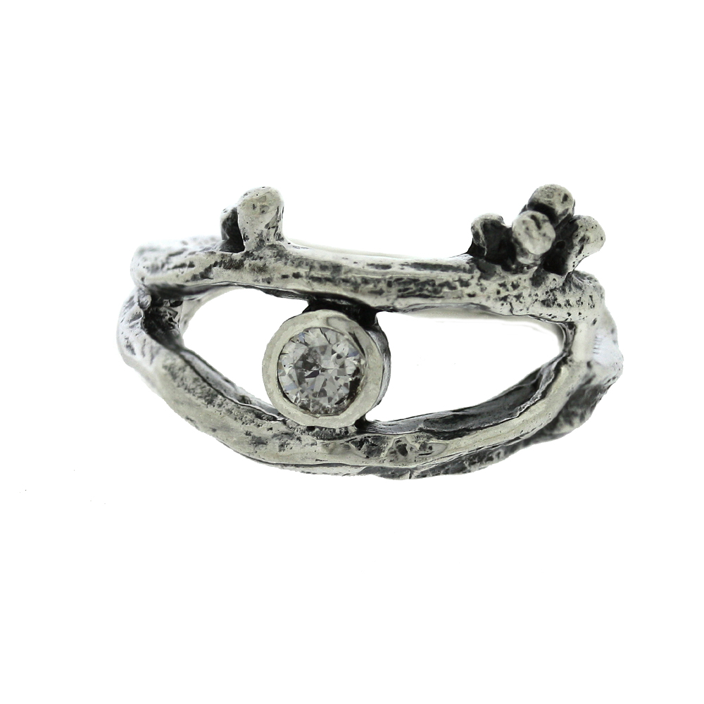 Twig Wrap around Ring with Cubic Zirconia