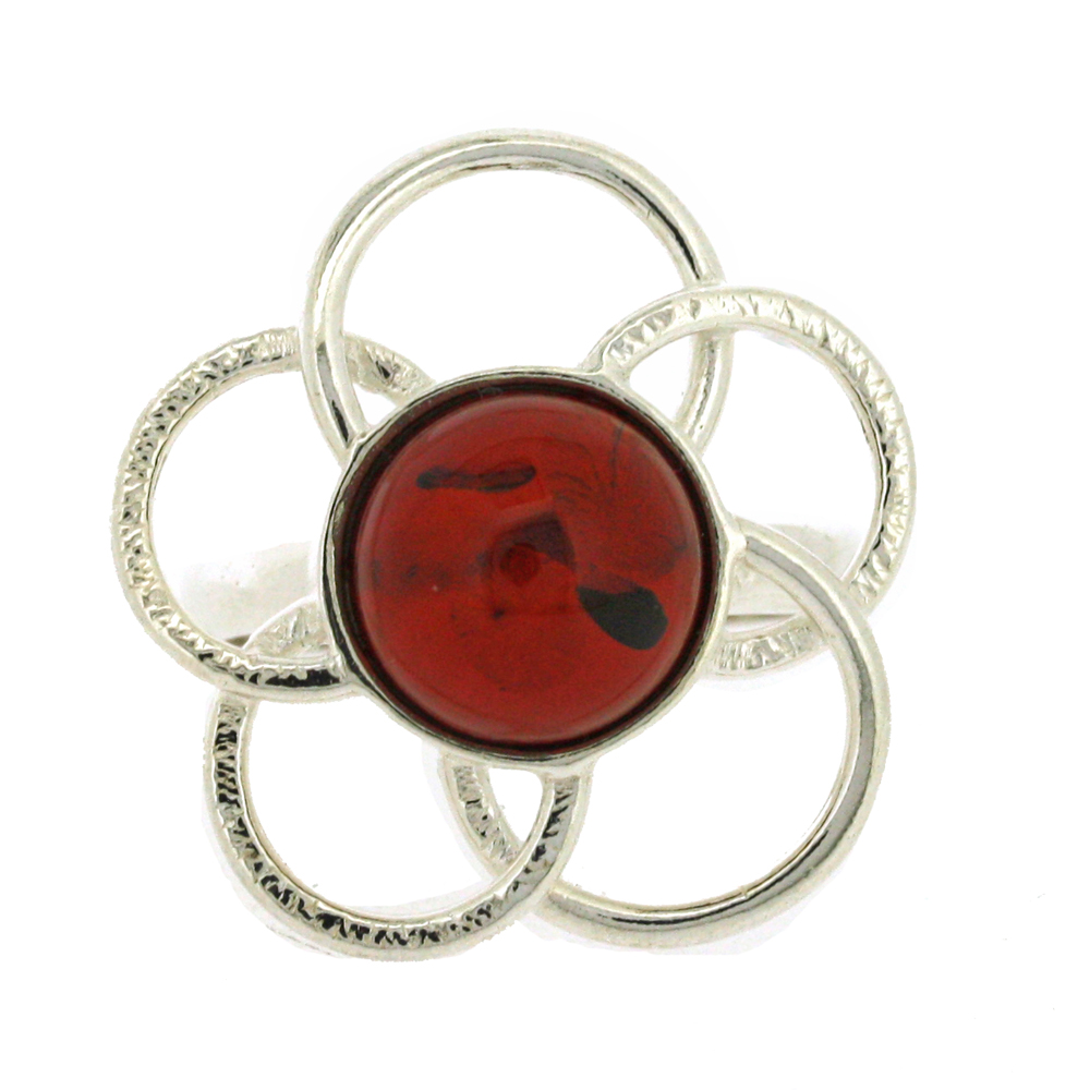 Classic Amber Large Flower Ring