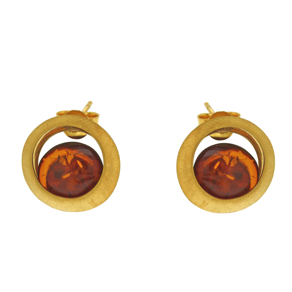 Amber Art Island Stud Earrings