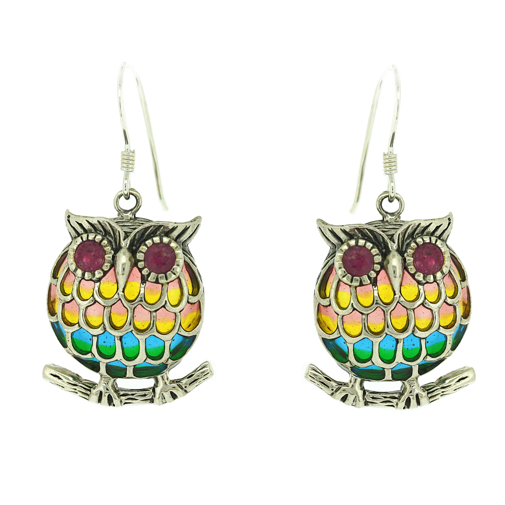 Enamels Wise Owl Earrings
